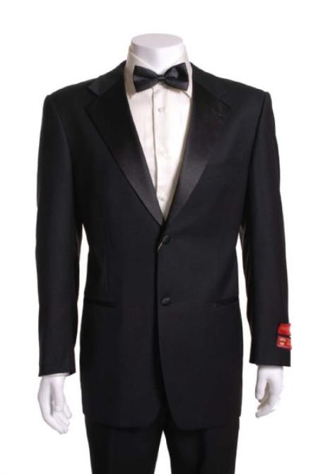 SKU#JN522 Black 2 Button Wool Tuxedo without pleat flat front Pants
