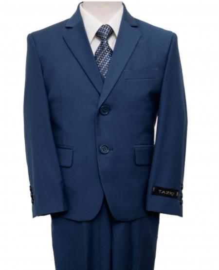 2 Button Front Closure Kids Sizes Boys Suit Perfect For boys wedding outfits Indigo ~ Bright Blue ~ Blue ~ cobalt Color