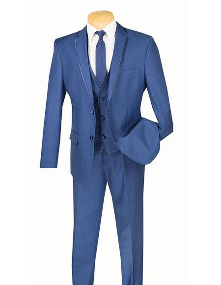 Vinci Mens Two Buttons Single Breasted Slim Fit Tuxedo Blue Tux SV2T-8