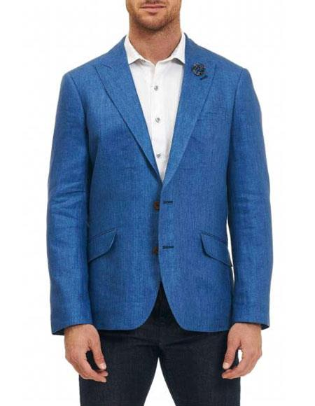 Mens Sportcoat Two Buttons Cheap Priced Designer Fashion Dress Casual Blazer On Sale 100% Linen Blue Classic Fit Blazer