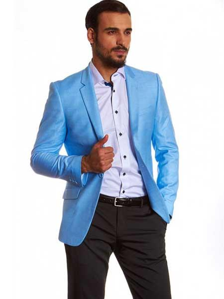 Buy SM1245 Men's 2 Button Single Breasted Dylan Blue Notch Lapel European Fit Blazer