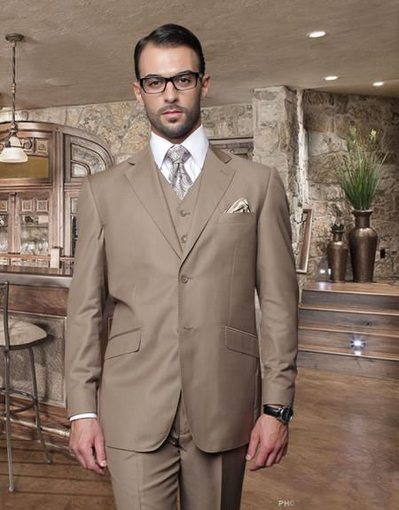 Classic 3PC 2 Button Bronze ~ Camel ~ khaki  Suit Super 150S Pick Stitched Lapel Italian Fabric Pleated Pants 100% Wool