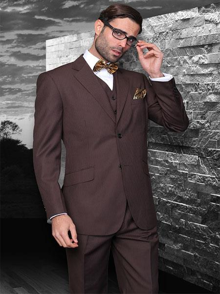 Classic 3 Piece 2 Button Brown Stripe ~ Pinstripe Suit Super 150s Extra Fine Italian Fabric