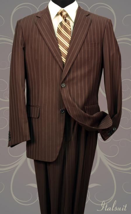 Classic 2PC 2 Button Brown Pinstripe Mens Suit