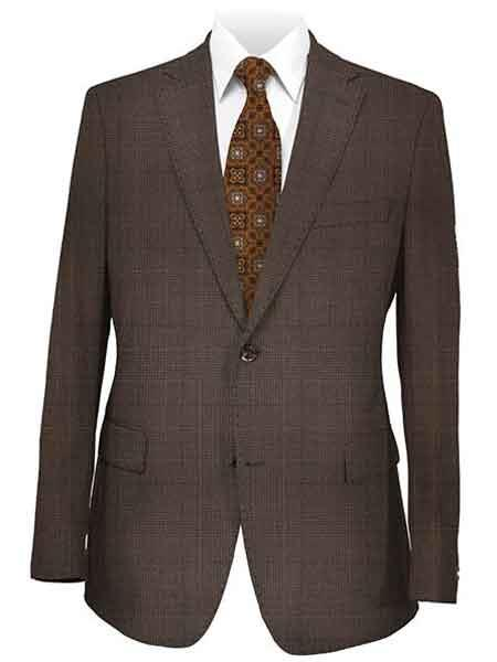 Mens Notch Lapel 2 Button Medium Brown Plaid Suit