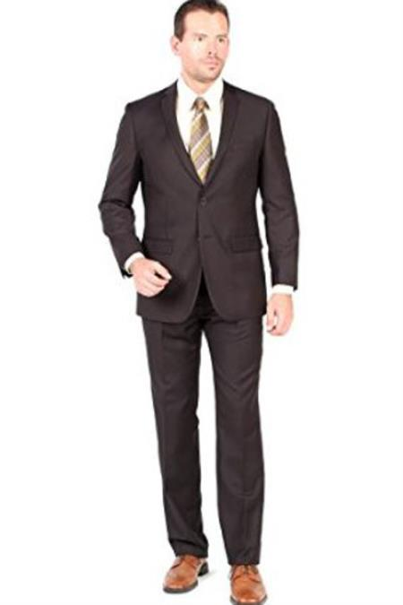 Mens 2 Button Closure Single Breasted Notch Lapel Brown Slim Fit Suit