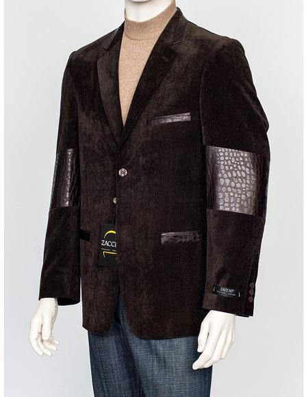 Mens Brown 2 Buttons Regular Fit Velvet Gator Trim Blazer