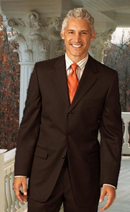 Extra Long 2PC Solid Color Brown Mens Suit in Available 2 Buttons Style for tall man