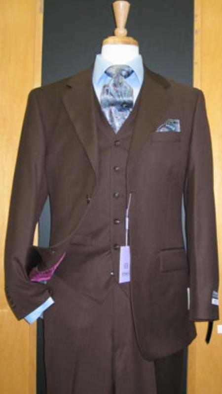 Button 3 Piece Brown