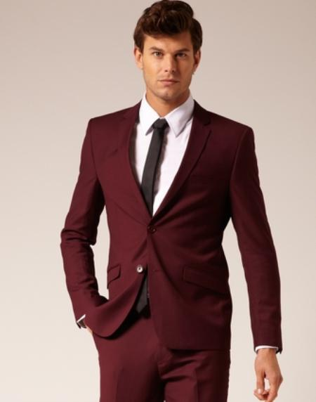 Mens 2 Button Style Suit Burgundy ~ Maroon ~ Wine Color flat front pan