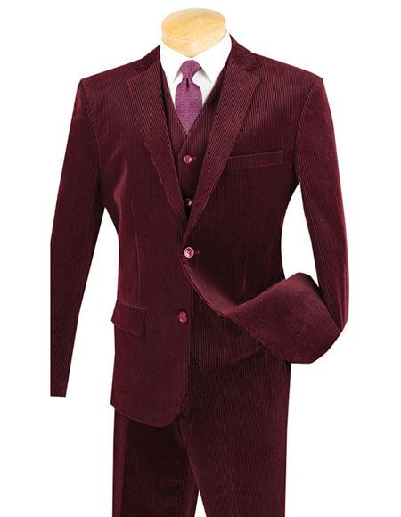 46df6aedfb959d Mens Two Buttons Burgundy ~ Wine ~ Maroon Color Pinstripe ~ Stripe ...