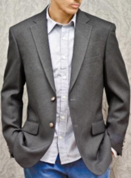 2-Button Poly Blazer Charcoal
