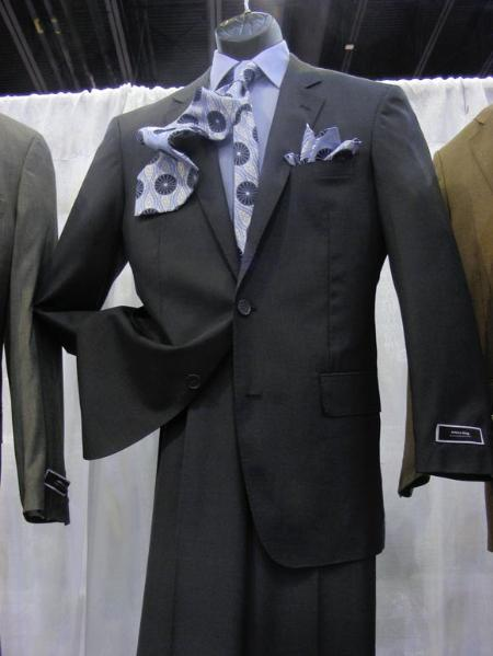 2 PC 2 Button Suit Luxurious Poly Rayon Charcoal Cheap Priced Business Suits Clearance Sale