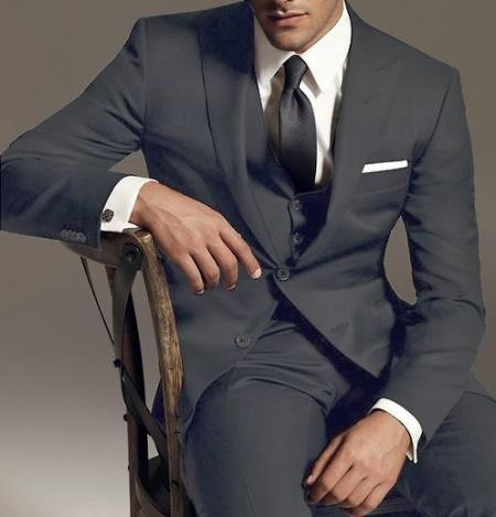 Reg:795 on sale $249 2 Btn Vested 3PC Wool Suit Peak Pointed English Style Lapel Dark Grey - Three Piece Suit