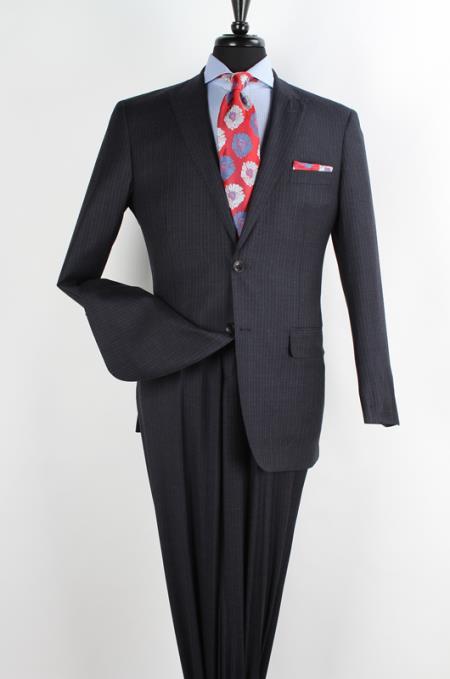 SKU#WDD82 Mens 2 Piece 100% Wool Executive Charcoal Suit - Narrow Peak Lapel & Side Vents