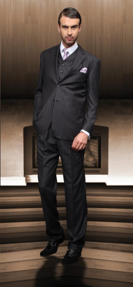 Classic 3pc 2 Btn Charcoal Suit Super 150s 1 Pleat Pants Italian Fabric