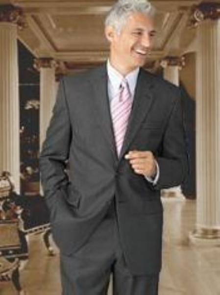 SKU# HJI216 Retail $1295 100% Wool Flat Front No Pleated Pants & 2 Button Brown Suits On Sale