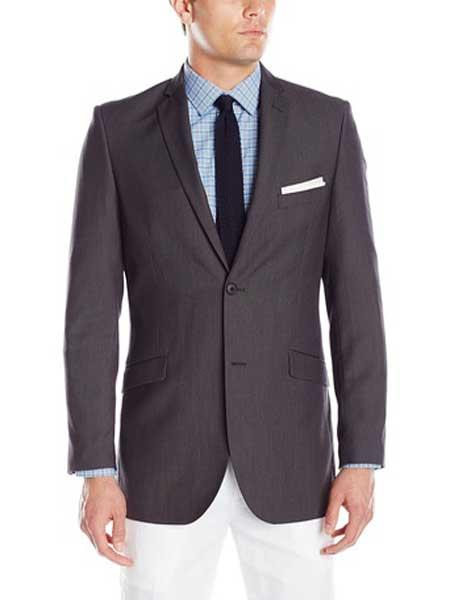 Men's 2 Button Charcoal  Featherbone Micro Tech Slim Fit Suit Jacket