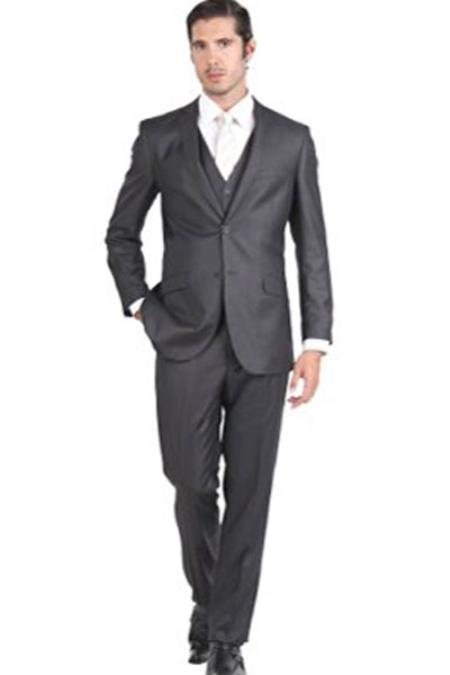 Mens Notch Collar 3 Piece Charcoal Single Breasted Slim Fit Vested Double Vent Suit