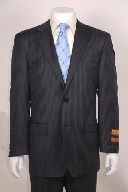 Men's Charcoal Stripe ~ Pinstripe Modern Fit 2 Button without pleat flat front Pants Wool Business ~ Wedding 2 piece Side Vented 2 Piece Suits For Men