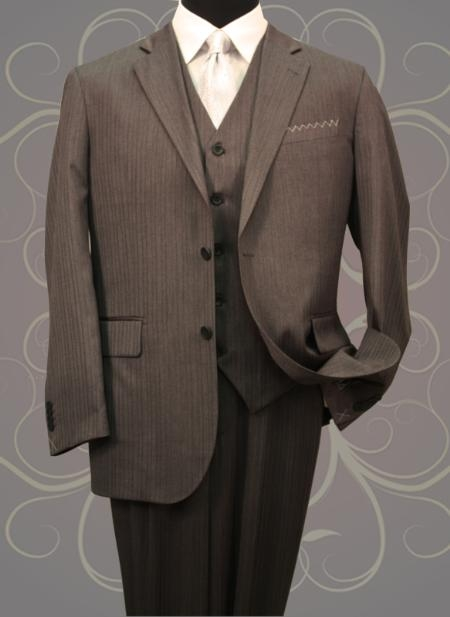 SKU#HE555 Classic 3PC 2 Button Charcoal Mens Mini Pinstripe ~ Stripe Vested Side Vents Wool Fabric Notch Lapel three piece suit