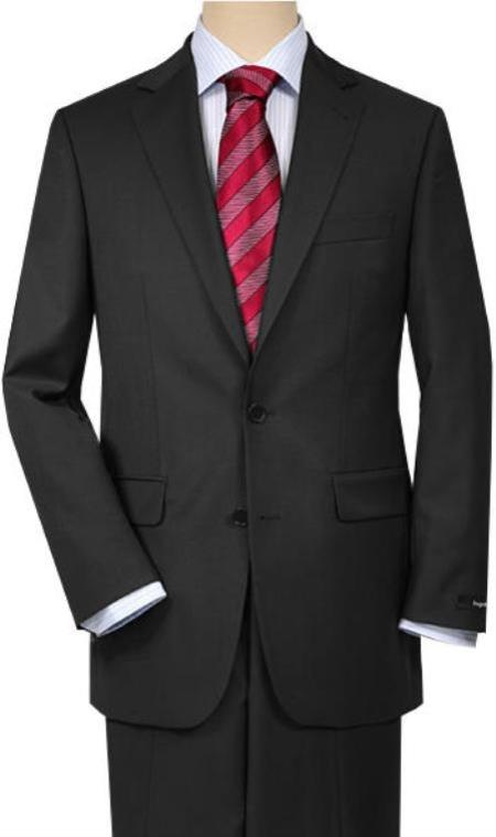 Mix and Match Suits Men's Solid Charcoal Gray  Quality 2 Buttons Portly Suits - Color: Dark Grey Suit Executive Fit Suit - Mens Portly Suit