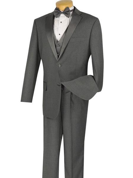 Mens Charcoal Grey ~ Gray Tuxedo 2 Buttons Vested 3 Pieces Sateen Notch Lapel Suit