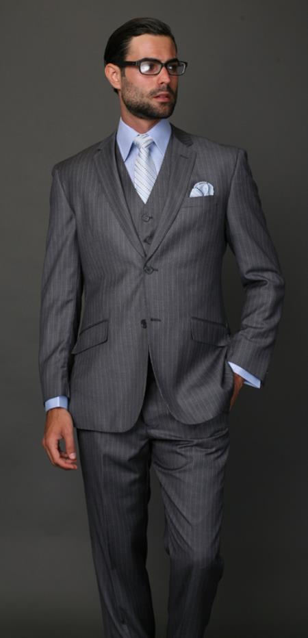 Classic 3PC 2 Button Charcoal Pinstripe three piece suit Super 150s Extra Fine Italian Fabric
