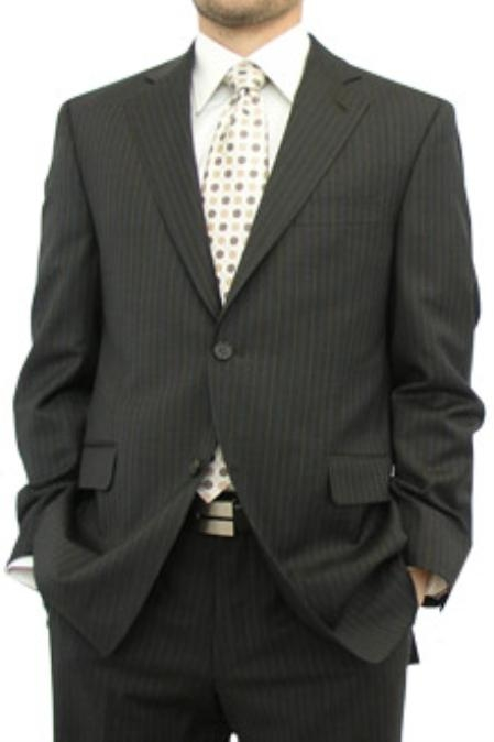 Chocolate Brown Pinstripe  Modern Fit 2 Button No Vents 100% Fine Wool Affordable Cheap Priced Mens Dress Suit For Sale