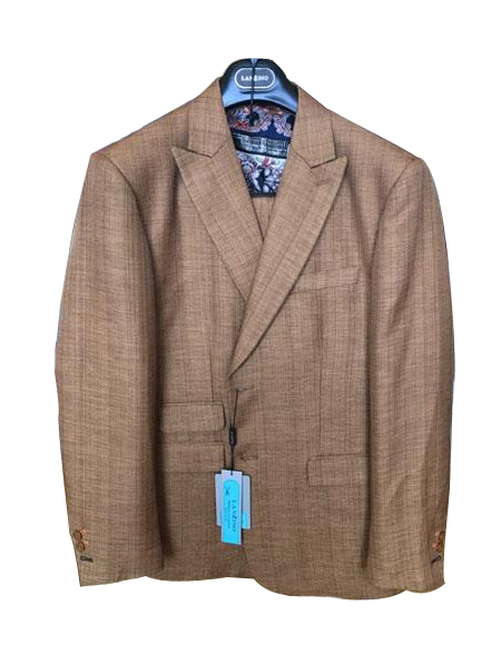 Mens Linen ~ Cotton Summer Fabric 2 Buttons Peak lapel Suit Ticket Pocket Cognac ~ Coffee