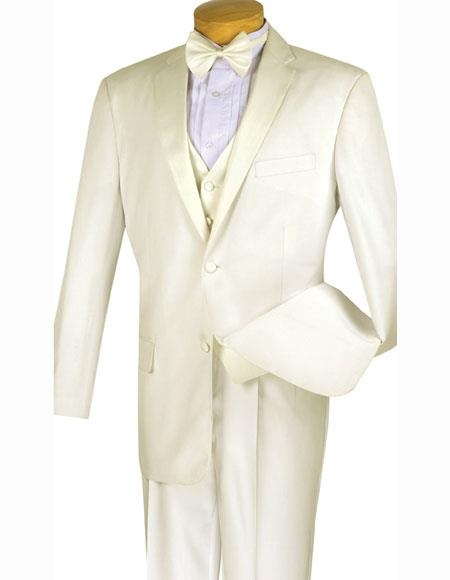 Mens Ivory ~ Cream ~ Off White 4pc Two Buttons With Vest And Bow Tie Pleated Pants Tuxed