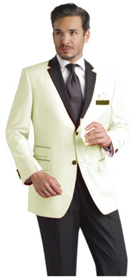 SKU#HLK8 Cream ~ off White ~ Ivory Two Button Notch Party Suit & Tuxedo & Blazer w/ Black Lapel Dinner Jacket