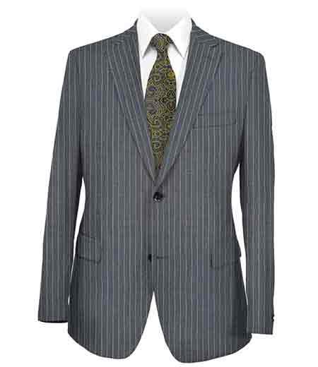 Men's Stripe 2 Button Dark Grey Side Vent Suit