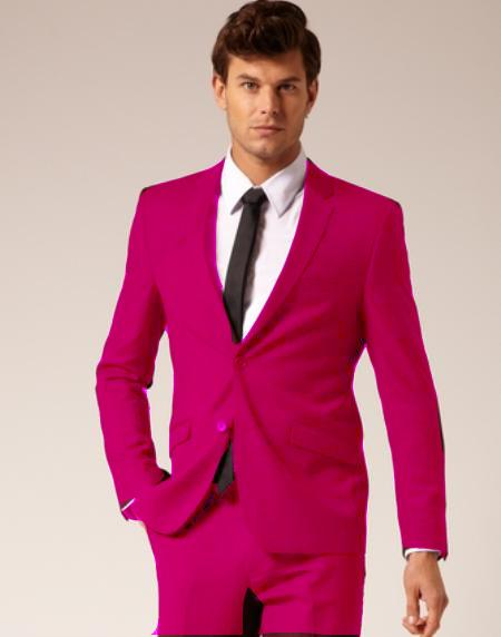 Mens 2 Button Style Wool & Cotton Suit Flat Front Pants Fuchsia ~ Hot Pink