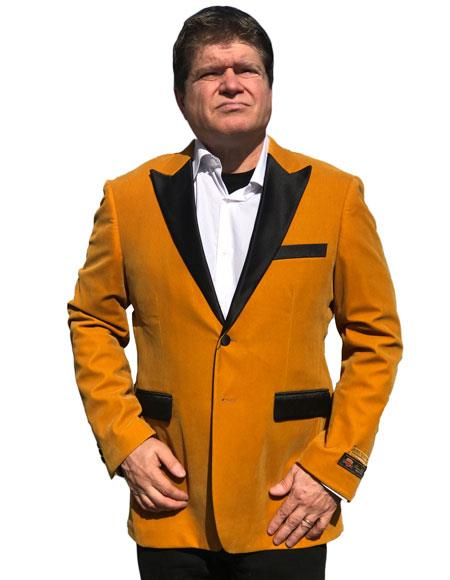 Alberto Nardoni Brand Gold Velvet Tuxedo Velour Blazer Sport Coat Jacket Available Big Sizes