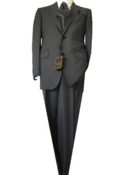 SKU#GU2365 Fitted Discounted Sale Slim Cut2 Button Gray Nailhead Mens Suit