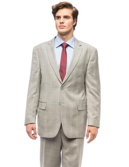 Buy CH1378 Men's Classic Plaid Two Buttons Authentic Giorgio Fiorelli Brand suits Flat Front Pants