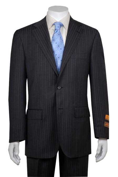 Gray Multi Stripe ~ Pinstripe 2 Button Vented without pleat flat front Pants Wool Business ~ Wedding 2 piece Side Vented Modern Fit 2 Piece Suits For Men