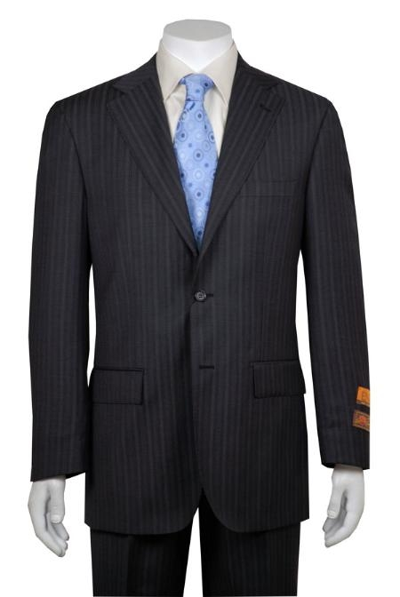 Gray and Shadow Stripe ~ Pinstripe 2 Button Vented without pleat flat front Pant Wool Business ~ Wedding 2 piece Side Vented Modern Fit 2 Piece Suits For Men