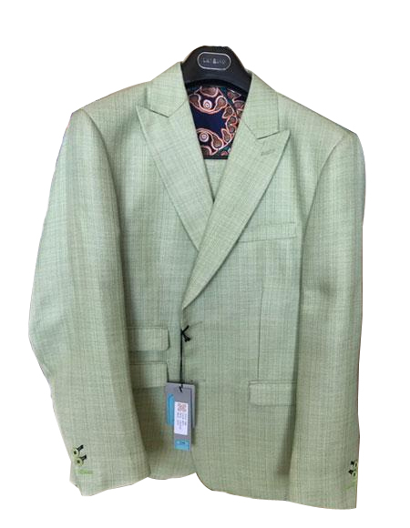 Mens Linen ~ Cotton Summer Fabric 2 Buttons Peak lapel Green Suit Ticket Pocket