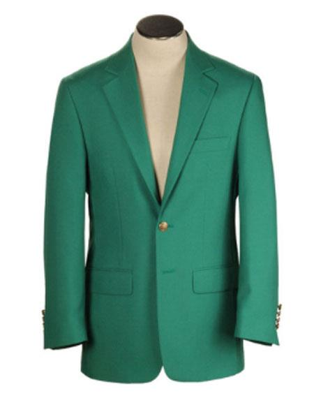 Men's Green Blazer On Sale Polyester and Wool