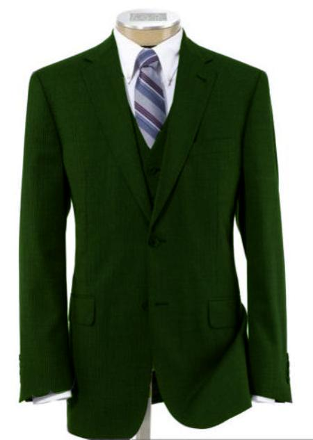 Men's 2 Button Wool Vested Dark Green Suit with Pleated Trousers