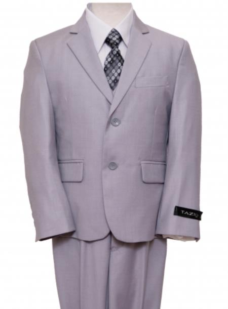SKU#PN-65 2 Button Front Closure Boys Suit LightGrey