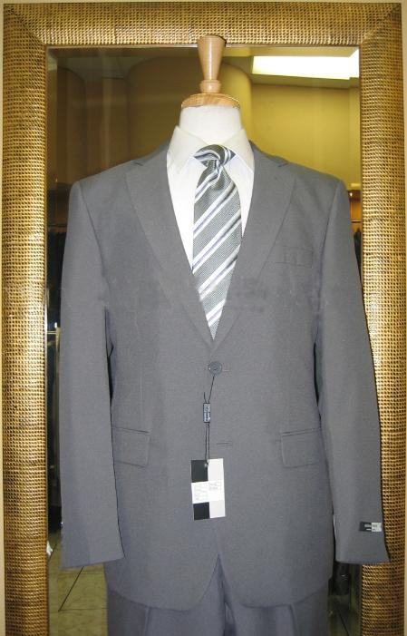 SKU#EH7835 Men's 2 Button Grey Discounted affordable clearance sale Poly Cheap Suit
