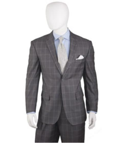 Mens Grey Two Buttons Plaid ~ Window Pane Cheap Priced Business Suits Clearance Sale Pleated Pants Regular Cut