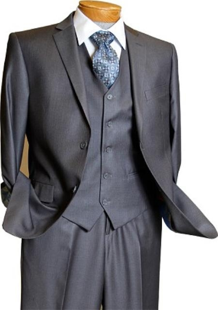 Mens 3 Piece Vested 2 Button Grey on Grey Pinstripe Slim