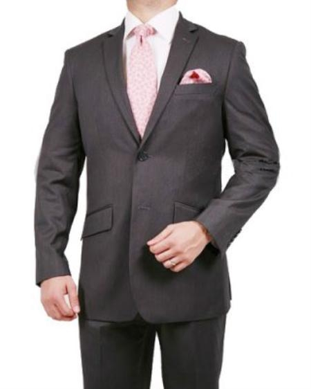 Mens 2 Button Stripe ~ Pinstripe Suit Grey