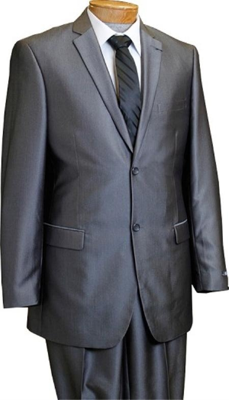 Men's 2 Button Slim Cut Pinstripe Conservative Pattern Grey TNT Suit Grey Mini Stripe Tapered Cut