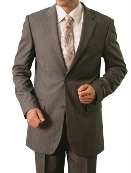 SKU#M119000 Mens 2 Button Front Closure Notch Lapel Suit Grey