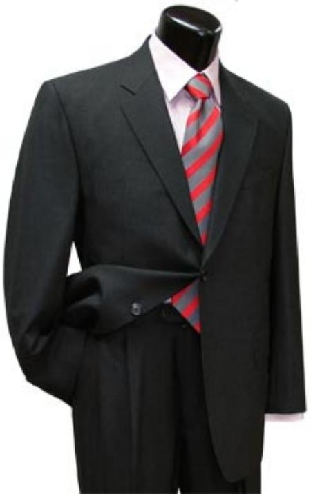 Mens 2 Button Dark Grey Single Breasted, 100% Super fine wool Business ~ Wedding 2 piece Side Vented 2 Piece Suits For Men pleated pants